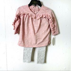 Miniclasix Pink Ruffled Top & Grey Leggings Set 9m